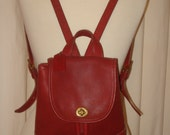 Coach Red Leather Back Pack or Day Pack Style #9960
