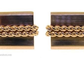 14K Yellow Gold Rectangular Rope Cufflink