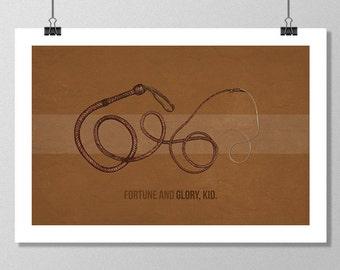 "INDIANA JONES Inspired Whip Minimalist Movie Poster Print - 13""x19"" (33x48 cm)"