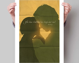 "PRIDE & PREJUDICE Inspired Elizabeth and Mr. Darcy Minimalist Movie Poster Print - 13""x19"" (33x48 cm)"