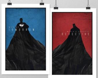 """BATMAN/SUPERMAN Inspired World's Finest Minimalist Poster Print Set - 13""""x19"""" (33x48 cm)"""