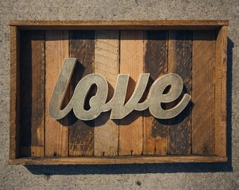 Handcrafted Recycled Love Word Art