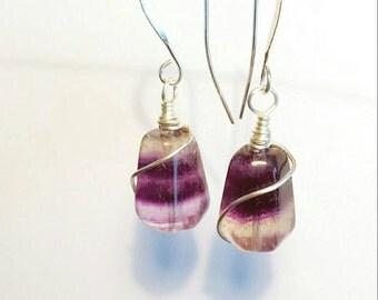 Silver Rainbow Fluorite Earrings, Purple earrings, Gemstone earrings, Wire wrapped earrings, Wire wrapped jewelry