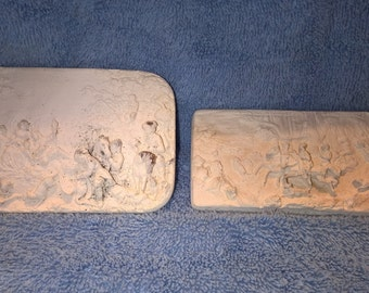 Lot of Two Carved Cork Small Plaques