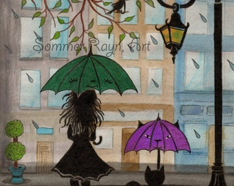 Lovely Lady with her kitty in the rain, adorable umbrellas,  16 x 20 canvas, Item #0191a