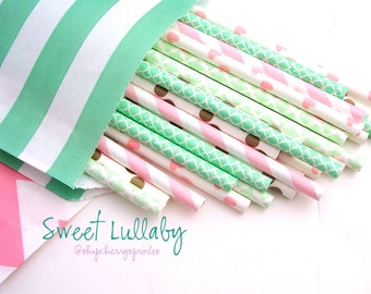 Mint and Pink Party -Mint Straws -Pink Straws, Gold Straws, Gold party supplies -Mint wedding decor, Pink Party, Wedding Decorations, Blush