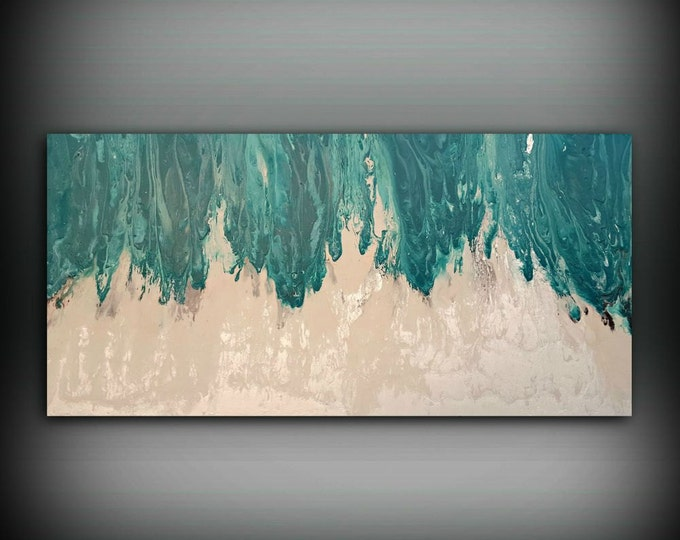 Art Painting Acrylic Paintings XL / Extra LARGE Abstract Canvas Art Teal Home Decor Wall Art Beach painting by LDawningScott 30 x 60""