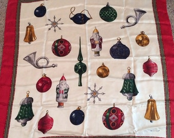 Vintage ECHO silk scarf, christmas ornaments