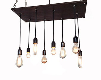 Edison Bulb Industrial Chandelier- Modern Chandelier, Urban Chandelier, Pendant Chandelier,Reclaimed Wood, Rustic Lighting, Ceiling Fixture