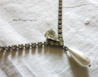 Vintage Art Deco Rhinestone Necklace, Bridal Necklace, Wedding Necklace, Faux Pearl Detail