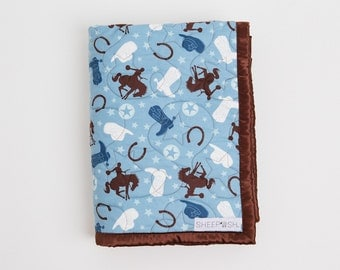 Cowboy Print Cotton and Minky Quilted Blanket