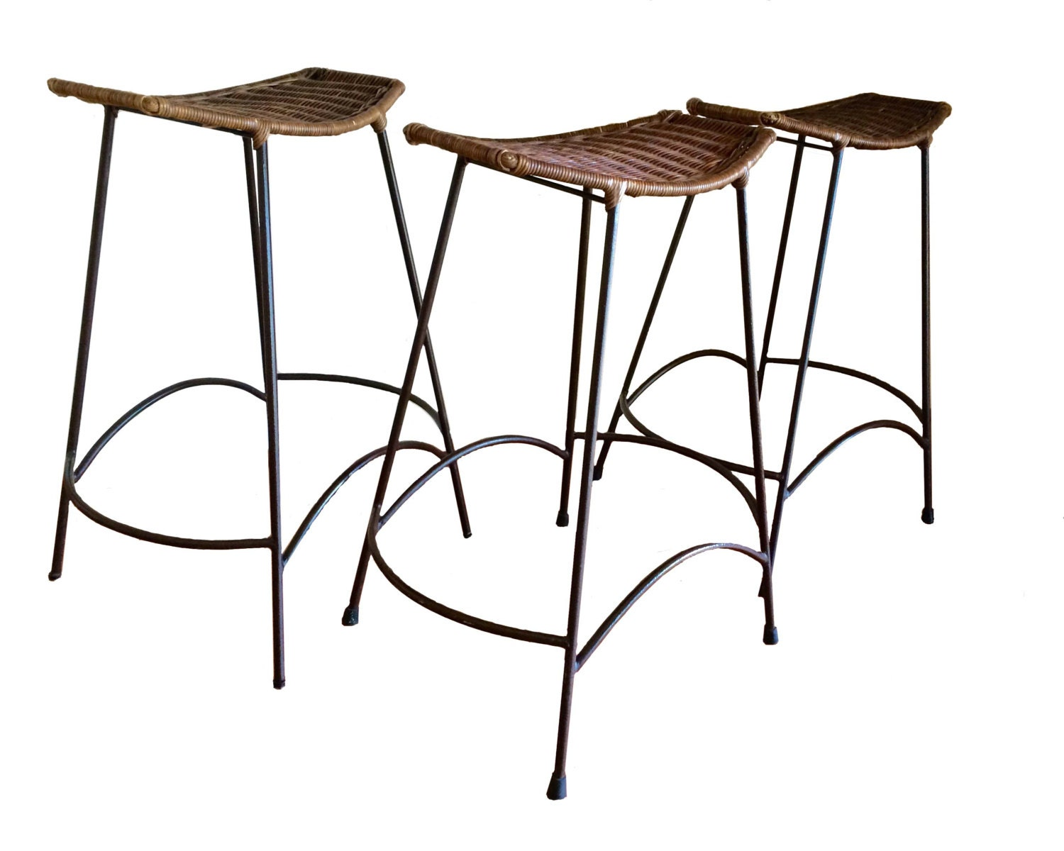 Mid Century Modern Vintage Wicker And Wrought Iron Stools