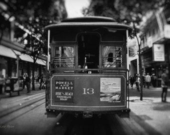 San Francisco Photo, Black and White, Vintage, California Art, Landmark Street Car Photo, Cable Car Photo, Wall Art for Home, Office Art
