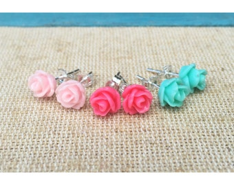Sterling Silver PolyClay Resin Rose Earrings