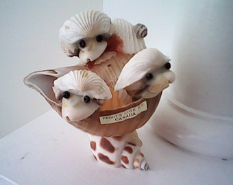 SEA SHELL FOLK Art Peggy's Cove N.S Canada  Quirky Whimsy