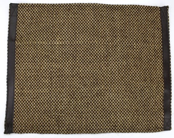 14x18 inch Natural Weave Jute Placemat with Faux Leather Edge Brown Natural (N01-PL20)