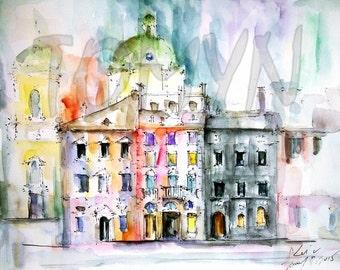 Sale! LVIV ART PRINT.  Ukraine. Old Market Square. Print from original watercolor.