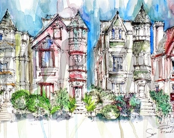 San Francisco. Buildings. California. United States. Print from ofiginal watercolor painting.