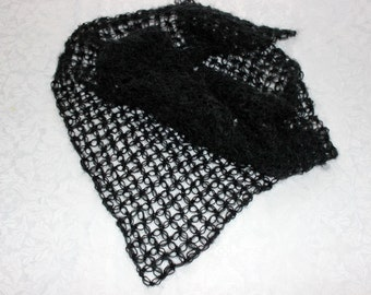 Women's black knitted shawl / Knitted shawl / Handmade shawl