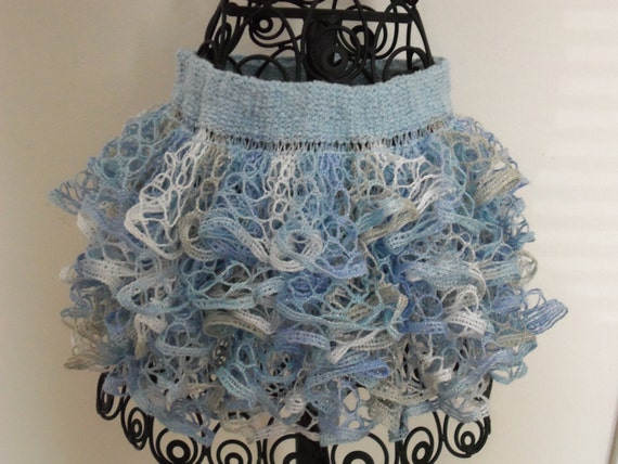 """Baby or toddler ruffled skirt. Shades of blue with sparkles....reminds me of """"Frozen""""."""
