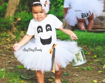 Baby girl ghost tutu costume dress halloween outfit