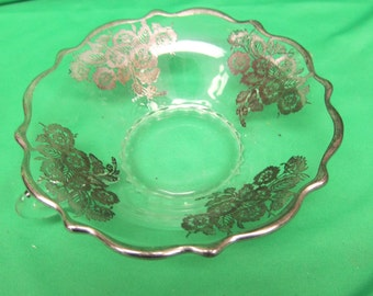 Vintage Silver on Glass 2 Handle Bowl