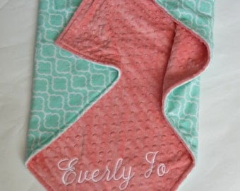 Personalized Minky Baby Blanket or Lovey -  Baby Girl or Boy Stroller blanket  - You Choose Minky Color - Trellis in Opal, Coral. Mint