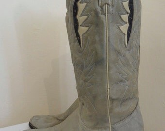 Vintage 'Acme' Pale Green Leather Cowboy Boots Made In USA - UK Size 4 - Lovely!!