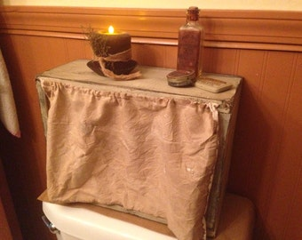 Primitive Cubby Box With Grungy Curtain
