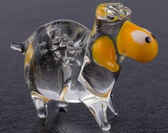 Baa Baa Clear Sheep Art Lampwork Blown Glass Figurine