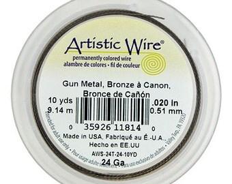 Artistic Wire Twisted Gun Metal Color 24ga - 10 Yard Spool  (WR52924)