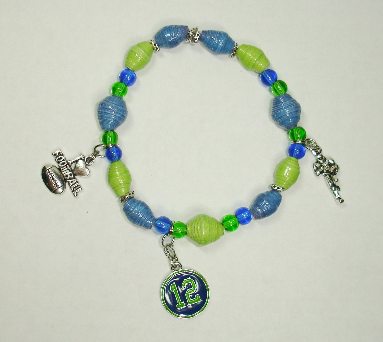 Handmade Paper Bead Bracelet Jewelry Seattle Seahawks Round