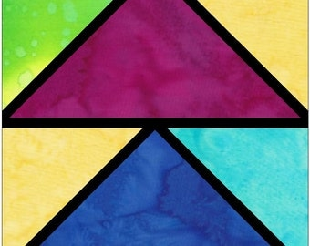 Quarter Geeese Stained Glass Foundation Paper Piece Quilting Block Pattern PDF