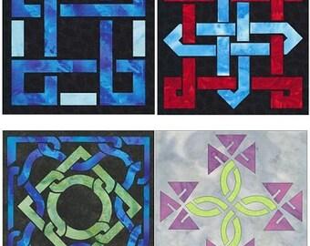 Easy Celtic Knot 4 Block Set Quilt Applique Patterns Designs (set 1)