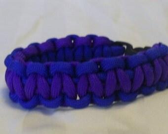 Blue with Violet Purple 8 Inch Paracord Bracelet