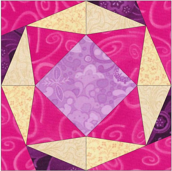 Diamond Ring Paper Template Quilting Block Pattern PDF