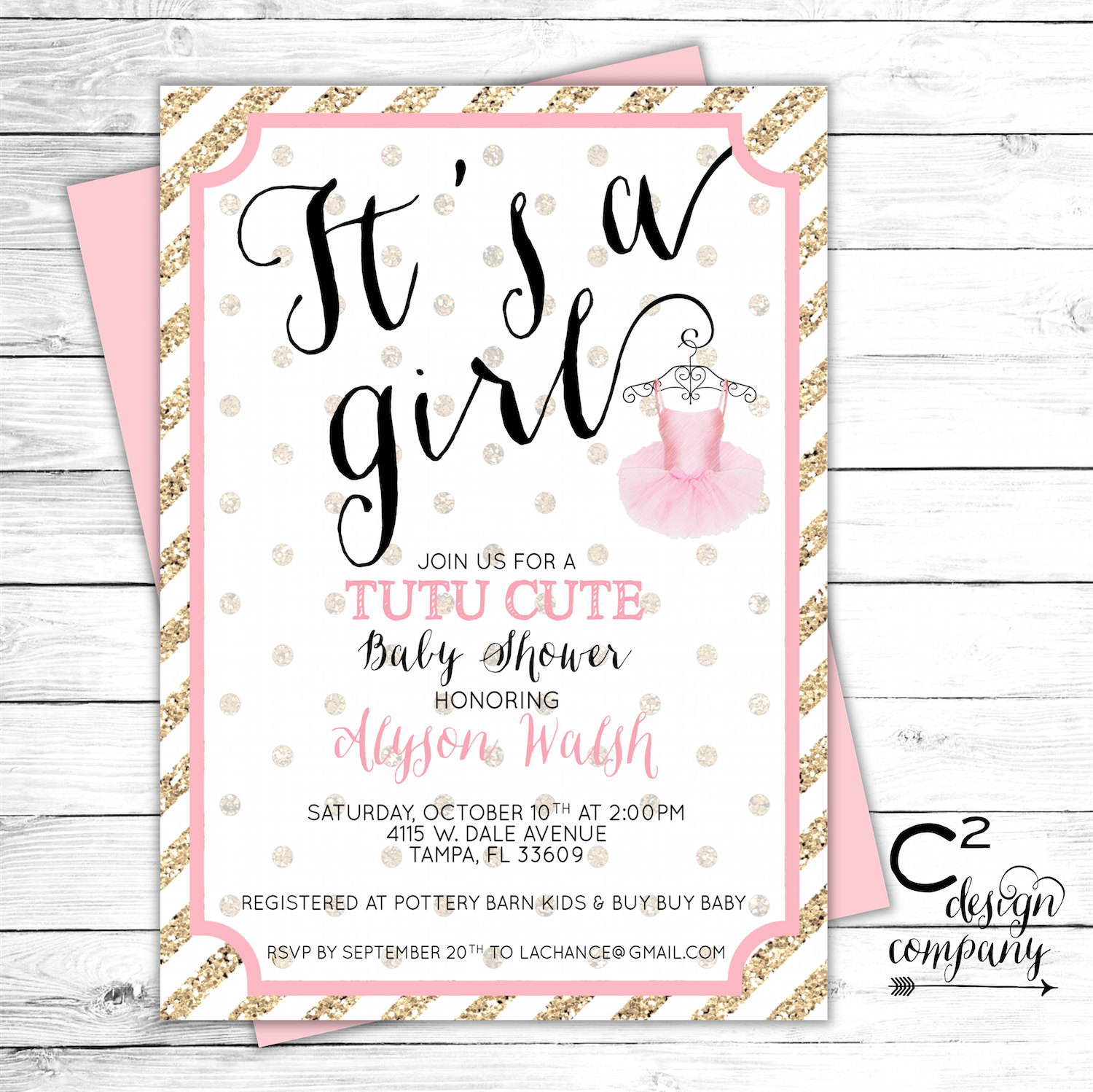 tutu cute baby shower invitation by csquareddesignco on etsy