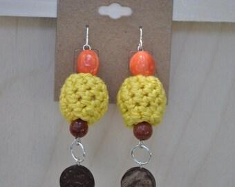 Crochet Earrings - Jewelry - Yelllow - Orange