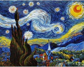 Starry Night Oil Painting  - Museum Quality Hand Painted Impressionist Fine Art On Canvas