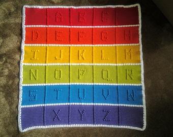 Handmade Crochet ABC's Baby Afghan / Handmade Crochet ABC's Baby Blanket / Handmade Crochet ABC's Baby Throw