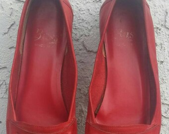 Vintage 90s Red Loafers Flat Shoes Size 7 Driving Shoe