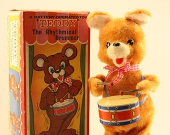 """Vintage """"Teddy - The Rhythmical Drummer"""" Battery Operated Toy"""