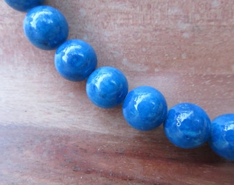 Blue Fossil Beads 10 mm Natural Stone