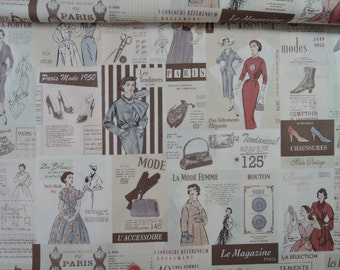 "Fat Quarter of Suzuko Koseki Vintage Fabric in Cream by Yuwa. Approx. 18"" x 22"" Made in Japan."
