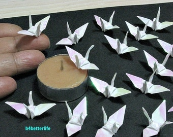 "100pcs White Color 1.5"" Origami Cranes Hand-folded From 1.5""x1.5"" Square Paper. (AV paper series). #FC15-08."