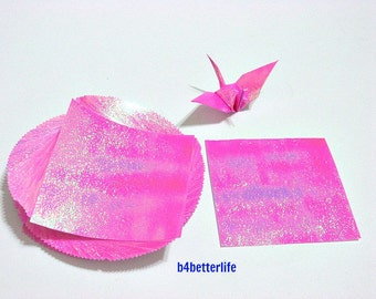 "100 Sheets 3"" x 3"" Pink Color DIY Chiyogami Yuzen Paper Folding Kit for Origami Cranes ""Tsuru"". 3""x3"". (TX paper series)."
