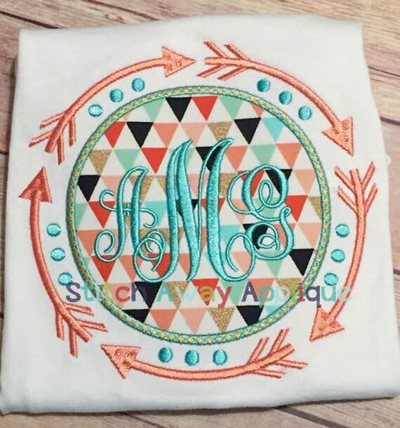 Tribal Aztec Arrows Monogram Frame Machine Embroidery Design