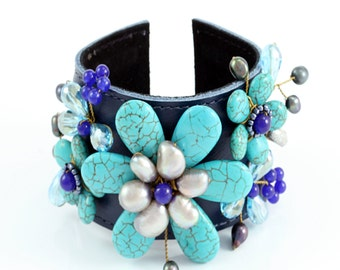Leather Cuff Bracelet for Women, Decorative Cuff Bracelet, Blue Cuff, Turquoise Cuff, Floral Cuff Bracelet, Wired Cuff, Blue Leather Cuff