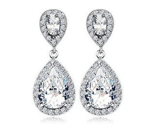 Bridal Earrings, Cubic Zirconia Stud Earrings, Crystal Drop Earrings, Wedding Earrings, Sparkly Earrings, Party Earrings, UK Seller, CZ Drop