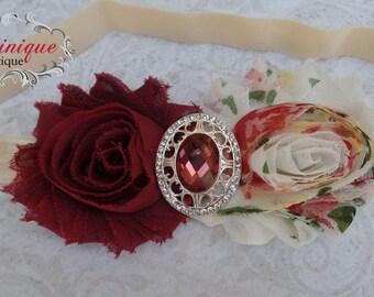 Vintage Wine Rose Headband